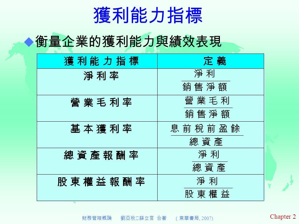Chapter 2 財務管理概論 劉亞秋‧薛立言 合著 (東華書局, 2007) 獲利能力指標  衡量企業的獲利能力與績效表現