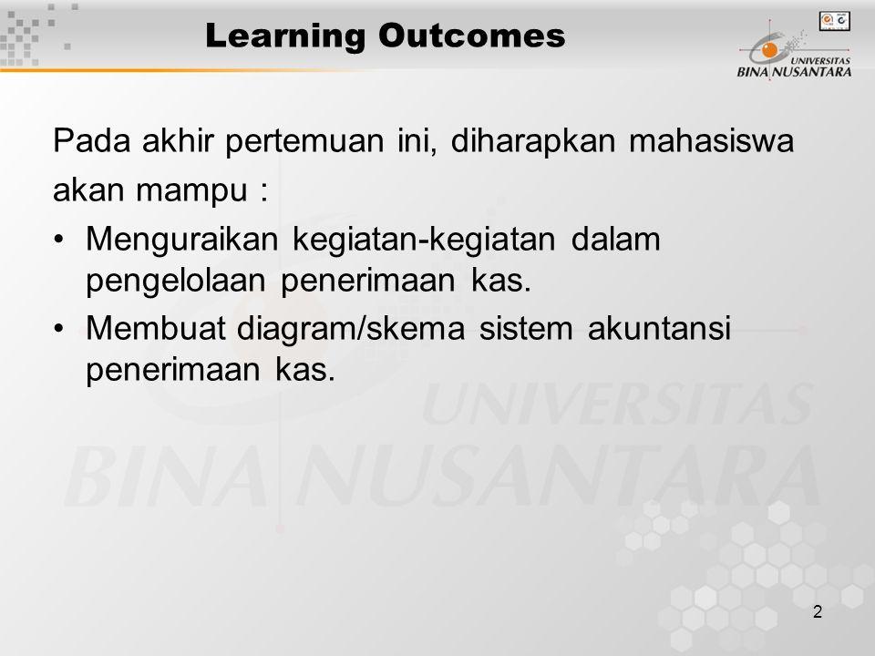 2 Learning Outcomes Pada akhir pertemuan ini, diharapkan mahasiswa akan mampu : Menguraikan kegiatan-kegiatan dalam pengelolaan penerimaan kas.