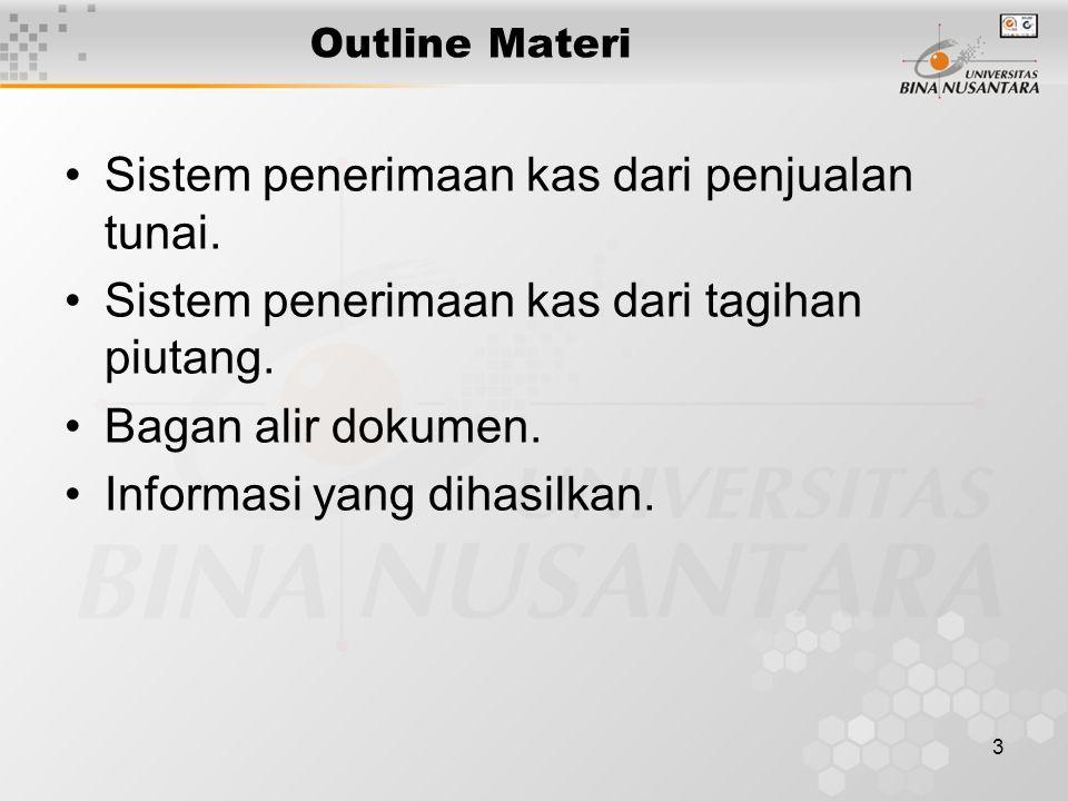 3 Outline Materi Sistem penerimaan kas dari penjualan tunai. Sistem penerimaan kas dari tagihan piutang. Bagan alir dokumen. Informasi yang dihasilkan