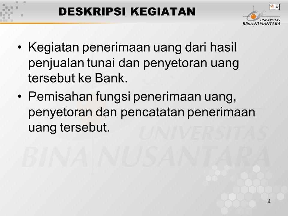 4 DESKRIPSI KEGIATAN Kegiatan penerimaan uang dari hasil penjualan tunai dan penyetoran uang tersebut ke Bank. Pemisahan fungsi penerimaan uang, penye