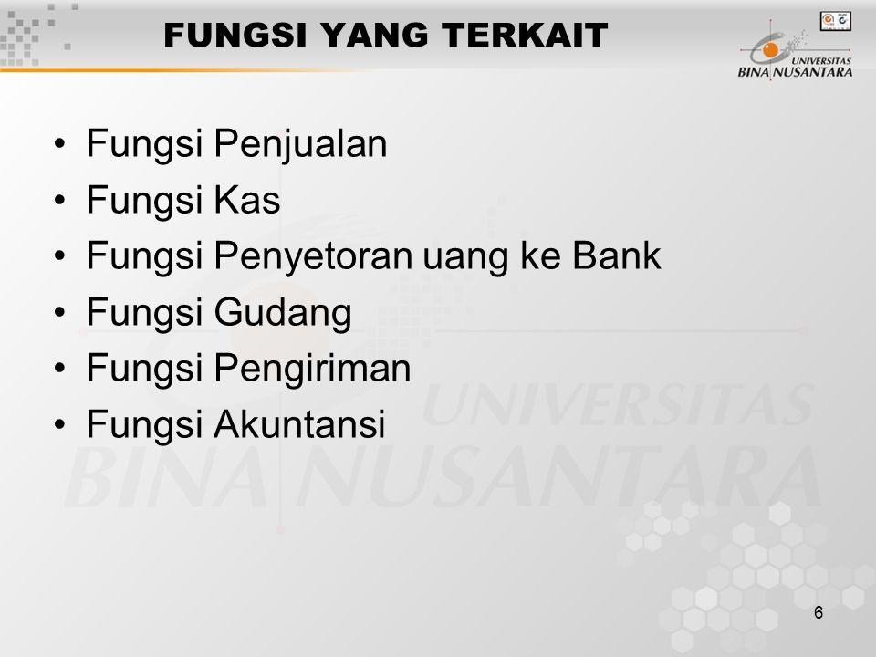 6 FUNGSI YANG TERKAIT Fungsi Penjualan Fungsi Kas Fungsi Penyetoran uang ke Bank Fungsi Gudang Fungsi Pengiriman Fungsi Akuntansi