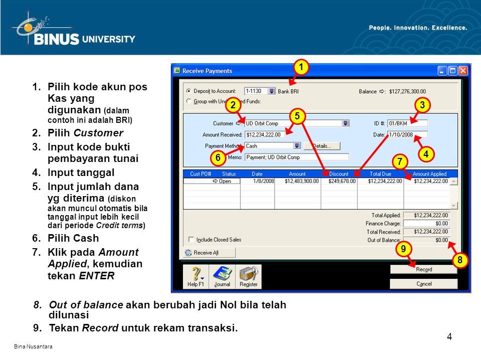 Bina Nusantara 1.Pilih kode akun pos Kas yang digunakan (dalam contoh ini adalah BRI) 2.Pilih Customer 3.Input kode bukti pembayaran tunai 4.Input tan