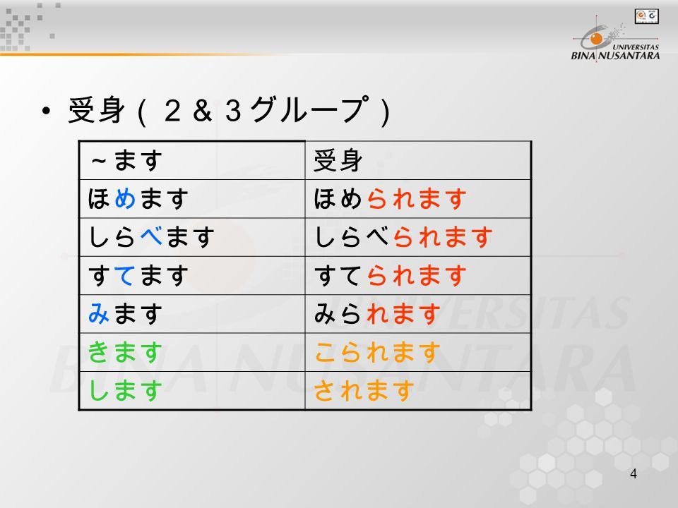 35 Pertemuan 35 Matakuliah: Bahasa Jepang IV Tahun: 2005