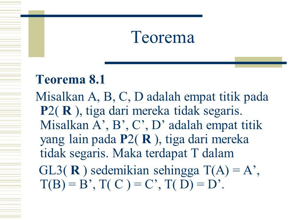 Catatan 1. Titik z pada C dapat disajikan pada P1( C ) dengan (z, 1).