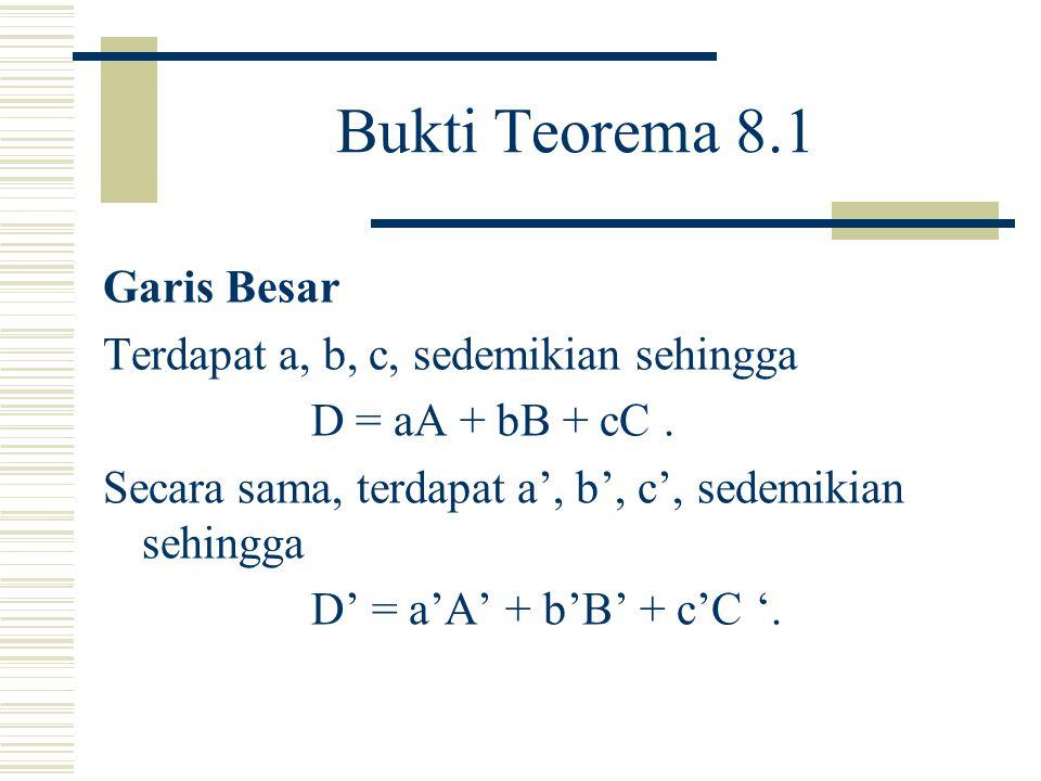 Teorema Teorema 8.1 Misalkan A, B, C, D adalah empat titik pada P2( R ), tiga dari mereka tidak segaris.