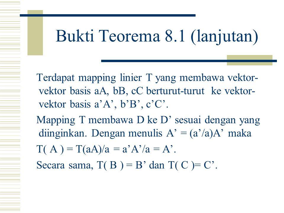 Bukti Teorema 8.1 Garis Besar Terdapat a, b, c, sedemikian sehingga D = aA + bB + cC.