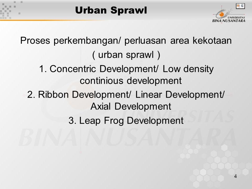 5 Perluasan Konsentris Concentric Development Merupakan perluasan kekotaan yang paling lambat.