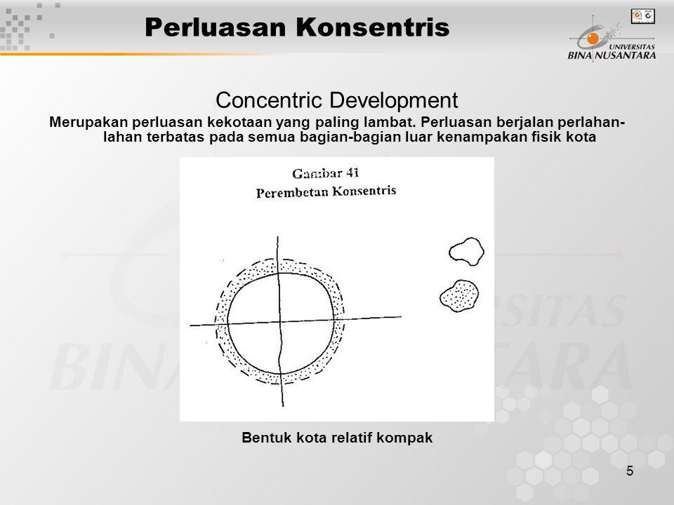5 Perluasan Konsentris Concentric Development Merupakan perluasan kekotaan yang paling lambat. Perluasan berjalan perlahan- lahan terbatas pada semua
