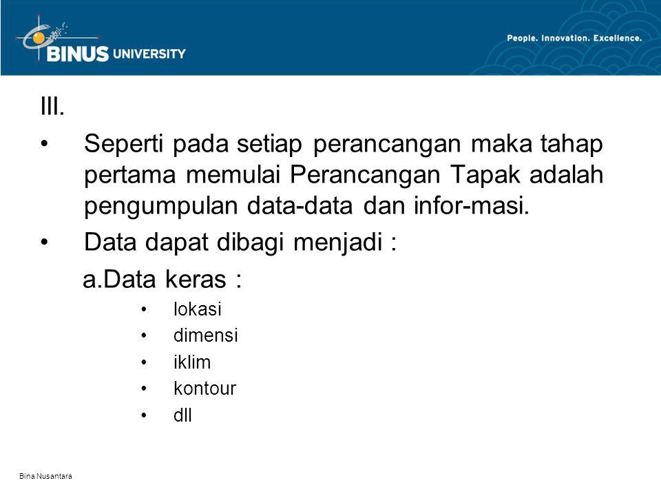 Bina Nusantara III. Seperti pada setiap perancangan maka tahap pertama memulai Perancangan Tapak adalah pengumpulan data-data dan infor-masi. Data dap