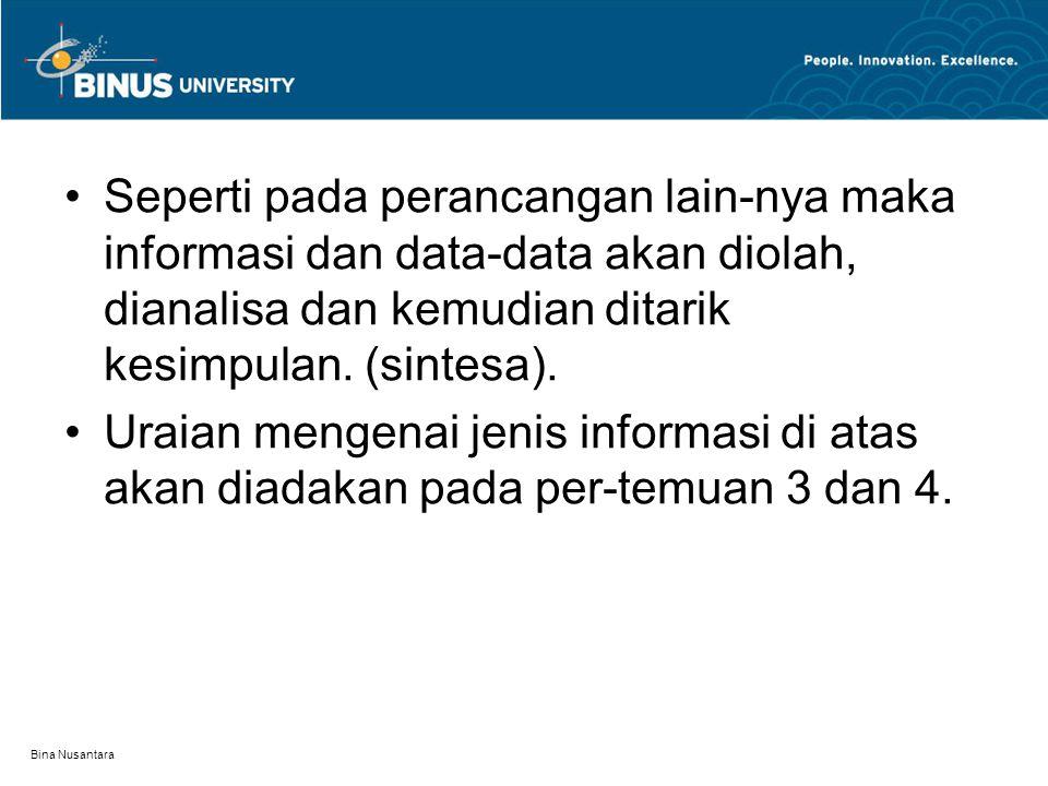 Bina Nusantara Seperti pada perancangan lain-nya maka informasi dan data-data akan diolah, dianalisa dan kemudian ditarik kesimpulan. (sintesa). Uraia