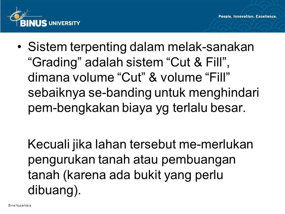 """Bina Nusantara Sistem terpenting dalam melak-sanakan """"Grading"""" adalah sistem """"Cut & Fill"""", dimana volume """"Cut"""" & volume """"Fill"""" sebaiknya se-banding un"""