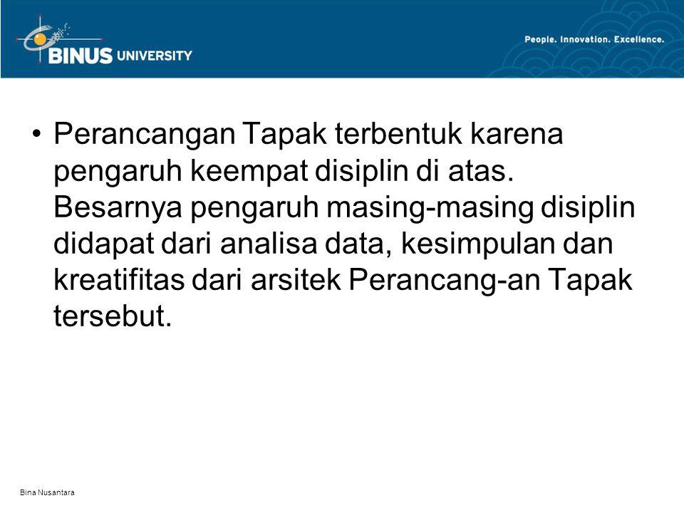 Bina Nusantara Perancangan Tapak terbentuk karena pengaruh keempat disiplin di atas. Besarnya pengaruh masing-masing disiplin didapat dari analisa dat