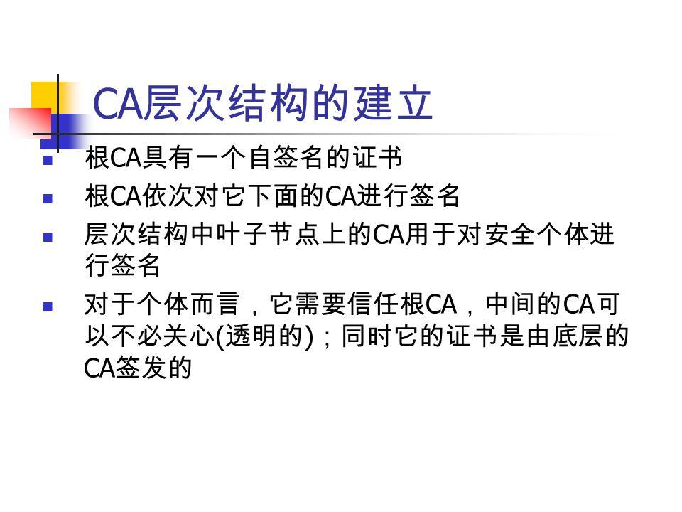 CA 层次结构的建立 根 CA 具有一个自签名的证书 根 CA 依次对它下面的 CA 进行签名 层次结构中叶子节点上的 CA 用于对安全个体进 行签名 对于个体而言,它需要信任根 CA ,中间的 CA 可 以不必关心 ( 透明的 ) ;同时它的证书是由底层的 CA 签发的