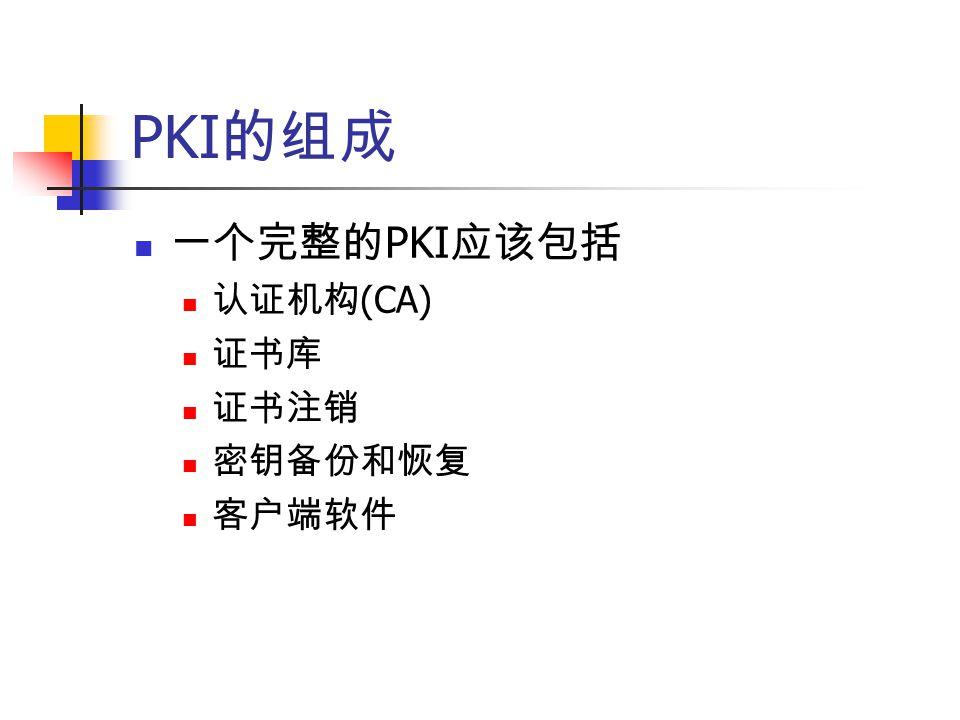PKI 的组成 一个完整的 PKI 应该包括 认证机构 (CA) 证书库 证书注销 密钥备份和恢复 客户端软件