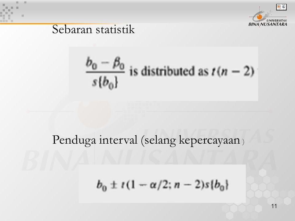 11 Sebaran statistik Penduga interval (selang kepercayaan )