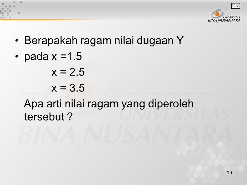 13 Berapakah ragam nilai dugaan Y pada x =1.5 x = 2.5 x = 3.5 Apa arti nilai ragam yang diperoleh tersebut ?