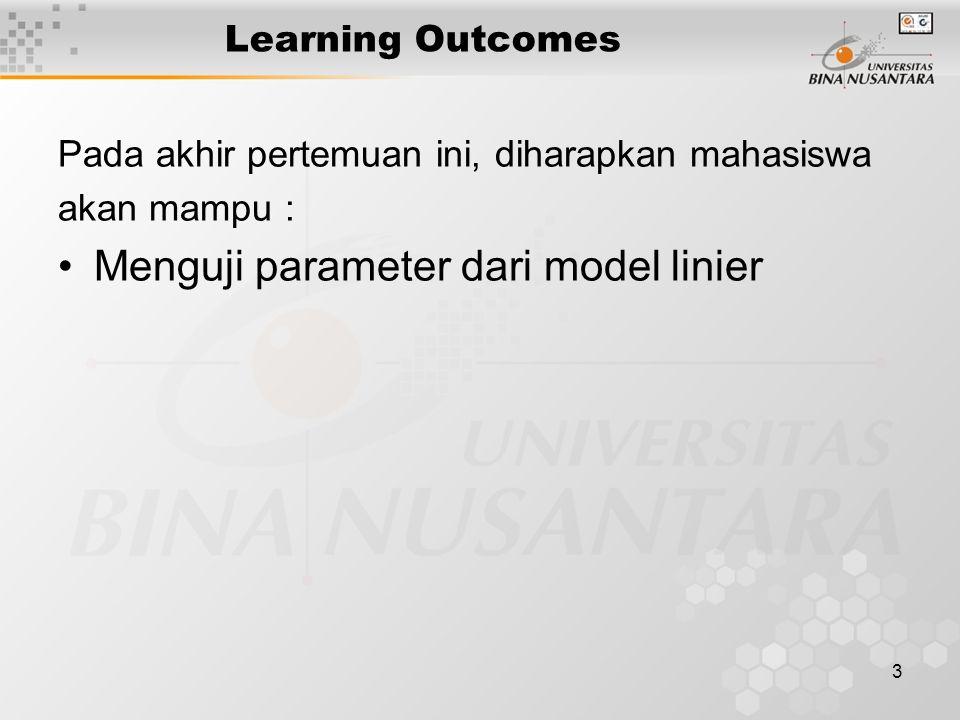 3 Learning Outcomes Pada akhir pertemuan ini, diharapkan mahasiswa akan mampu : Menguji parameter dari model linier
