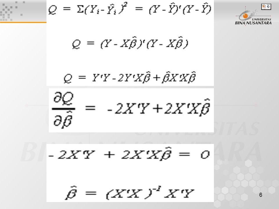 17 Ragam nilai dugaan peubah tak bebas Y pada peubah bebas xh, makin jauh dari rata-rata makin besar Selang kepercayaan nilai dugaan juga makin besar