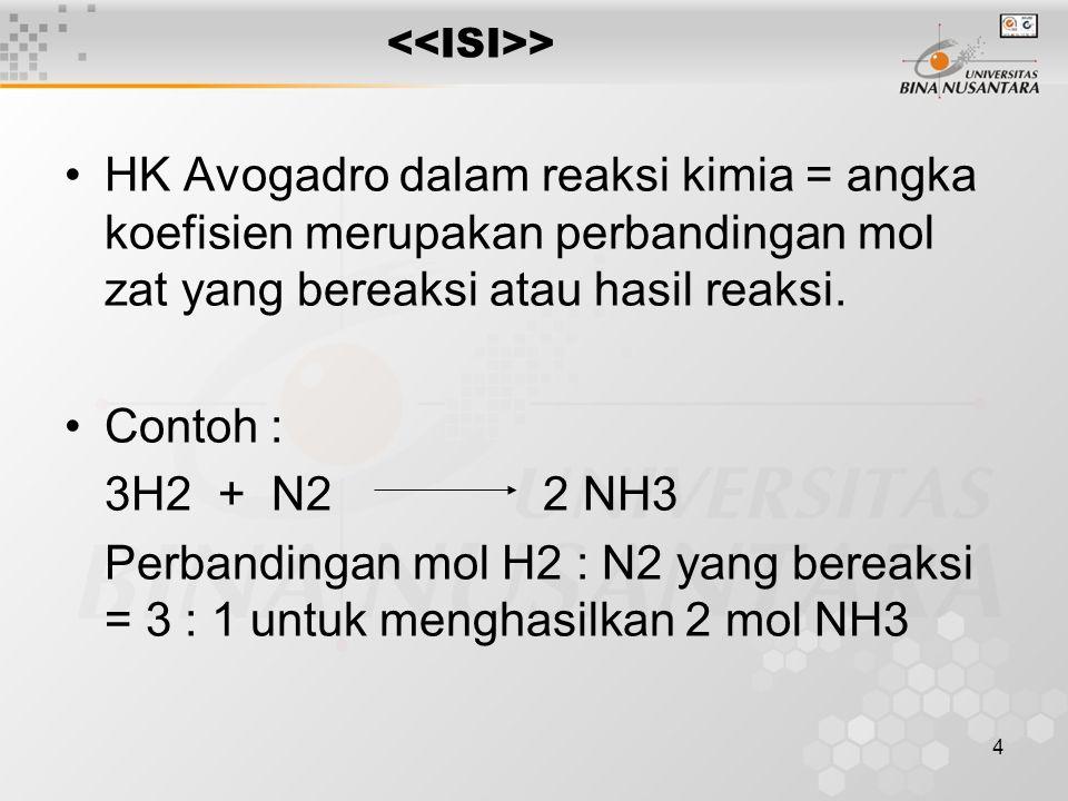 4 > HK Avogadro dalam reaksi kimia = angka koefisien merupakan perbandingan mol zat yang bereaksi atau hasil reaksi. Contoh : 3H2 + N2 2 NH3 Perbandin