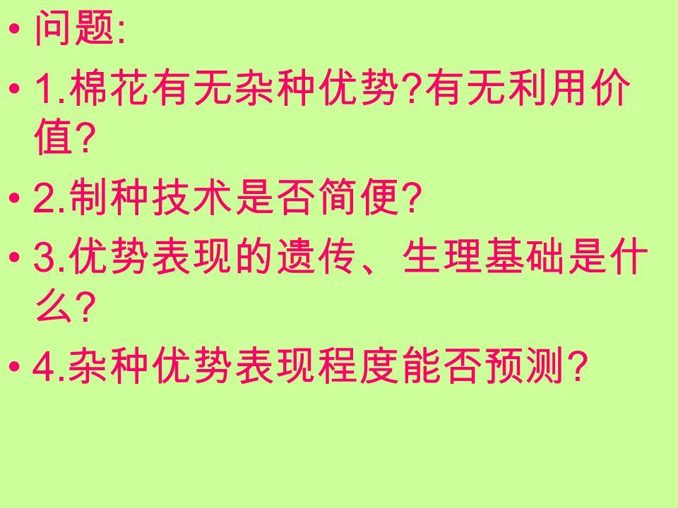 问题 : 1. 棉花有无杂种优势 ? 有无利用价 值 ? 2. 制种技术是否简便 ? 3. 优势表现的遗传、生理基础是什 么 ? 4. 杂种优势表现程度能否预测 ?