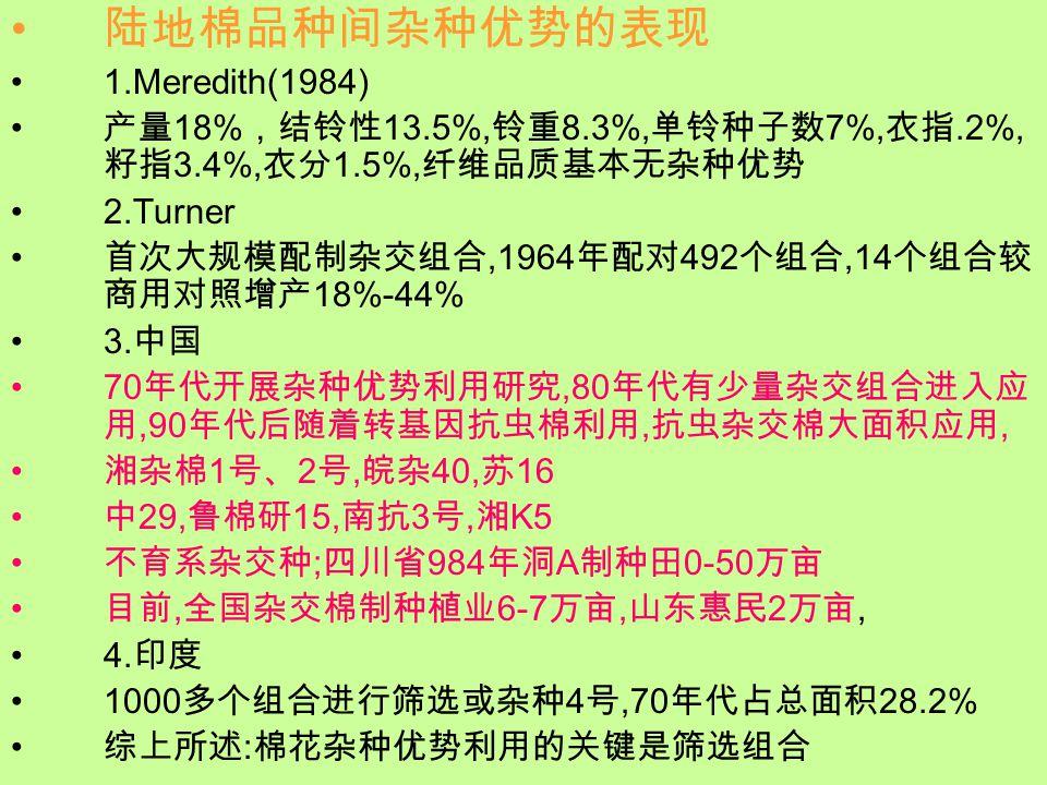 陆地棉品种间杂种优势的表现 1.Meredith(1984) 产量 18% ,结铃性 13.5%, 铃重 8.3%, 单铃种子数 7%, 衣指.2%, 籽指 3.4%, 衣分 1.5%, 纤维品质基本无杂种优势 2.Turner 首次大规模配制杂交组合,1964 年配对 492 个组合,14 个组合较 商用对照增产 18%-44% 3.