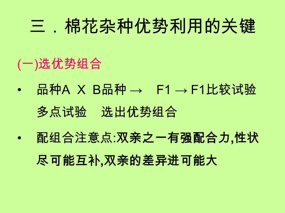 三.棉花杂种优势利用的关键 ( 一 ) 选优势组合 品种 A X B 品种 → F1 → F1 比较试验 多点试验 选出优势组合 配组合注意点 : 双亲之一有强配合力, 性状 尽可能互补, 双亲的差异进可能大