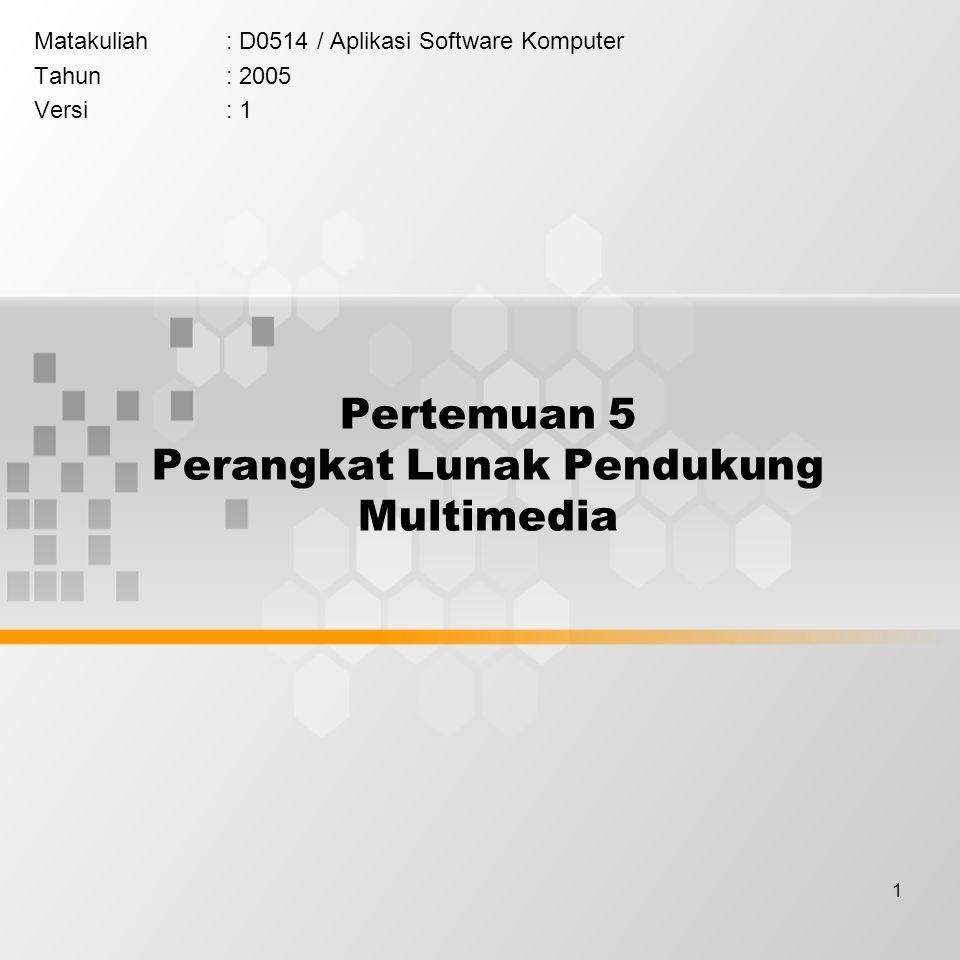 1 Pertemuan 5 Perangkat Lunak Pendukung Multimedia Matakuliah: D0514 / Aplikasi Software Komputer Tahun: 2005 Versi: 1