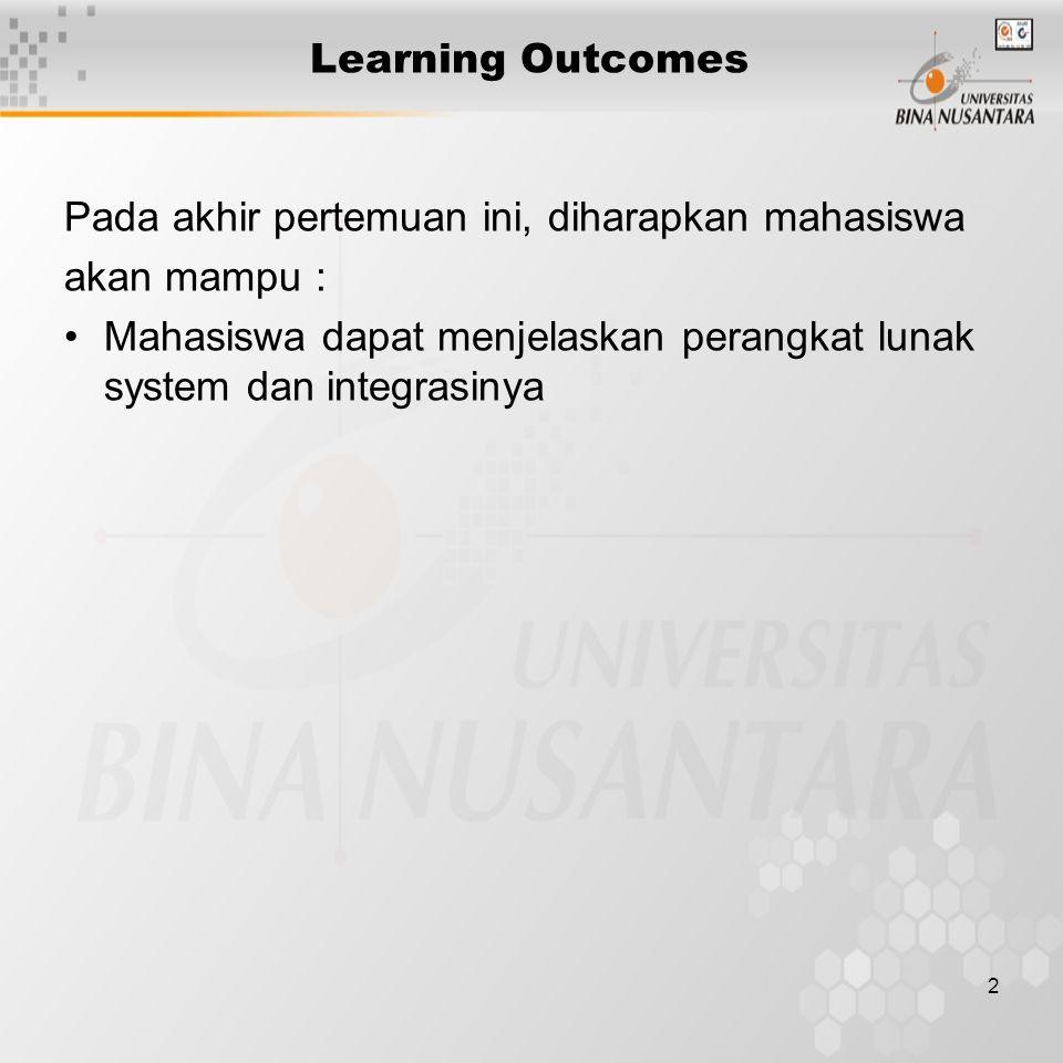 2 Learning Outcomes Pada akhir pertemuan ini, diharapkan mahasiswa akan mampu : Mahasiswa dapat menjelaskan perangkat lunak system dan integrasinya