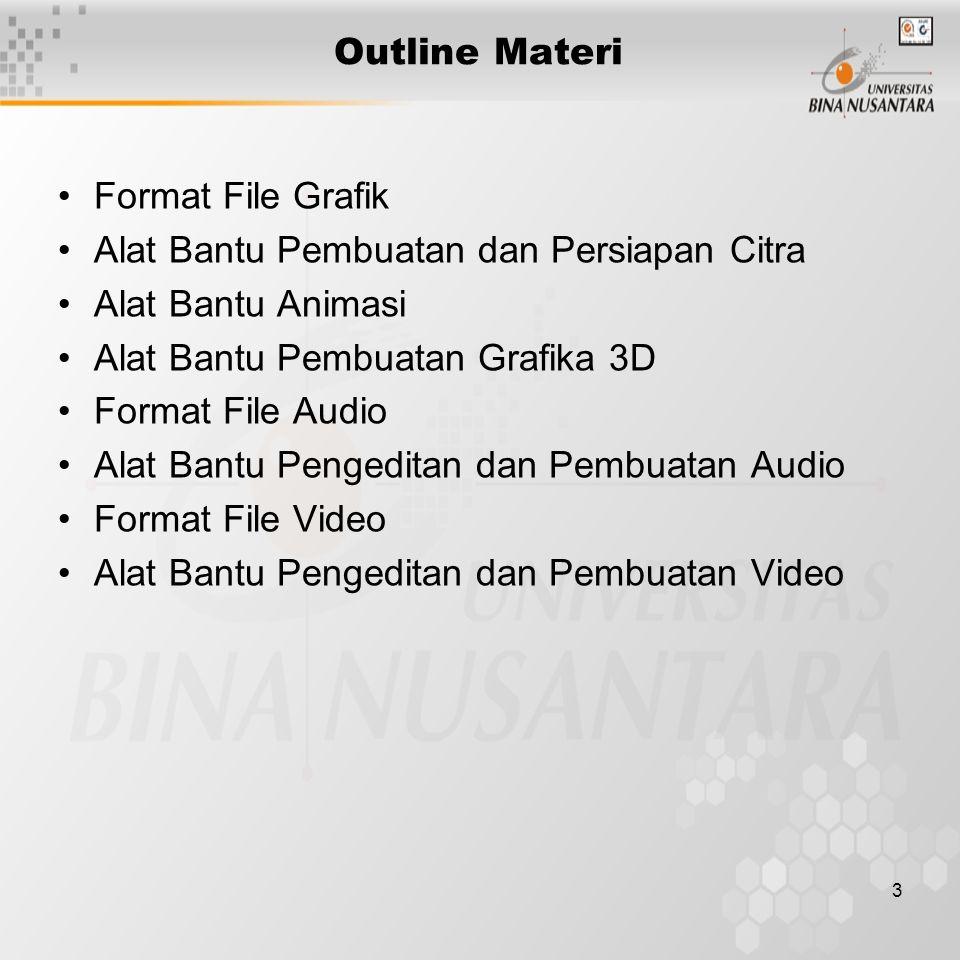 3 Outline Materi Format File Grafik Alat Bantu Pembuatan dan Persiapan Citra Alat Bantu Animasi Alat Bantu Pembuatan Grafika 3D Format File Audio Alat