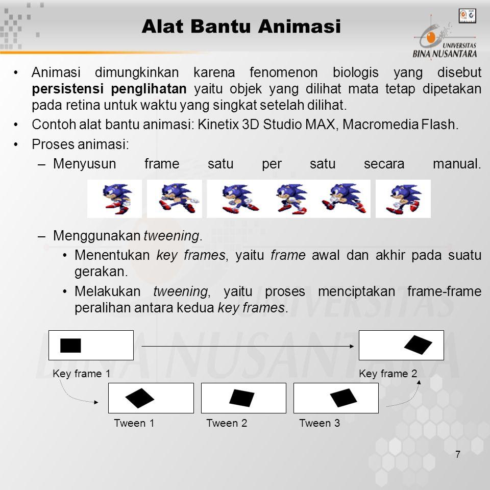 7 Alat Bantu Animasi Animasi dimungkinkan karena fenomenon biologis yang disebut persistensi penglihatan yaitu objek yang dilihat mata tetap dipetakan