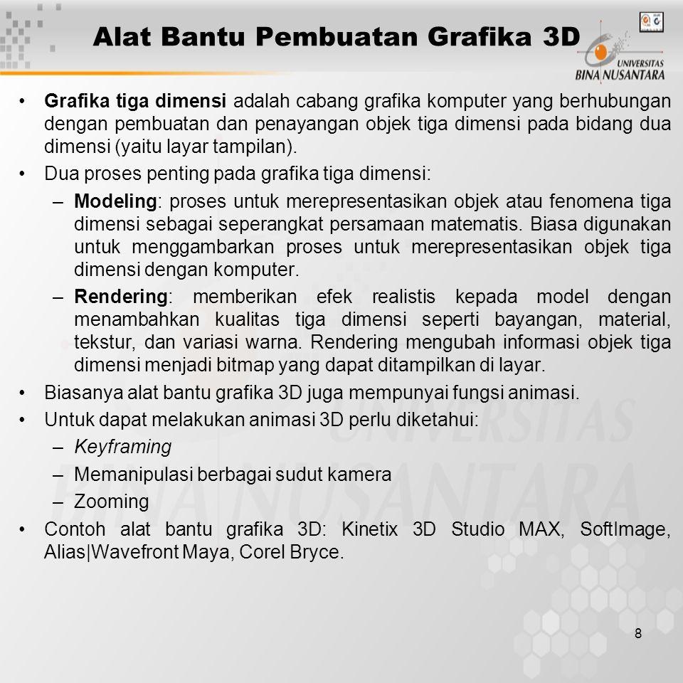 8 Alat Bantu Pembuatan Grafika 3D Grafika tiga dimensi adalah cabang grafika komputer yang berhubungan dengan pembuatan dan penayangan objek tiga dime