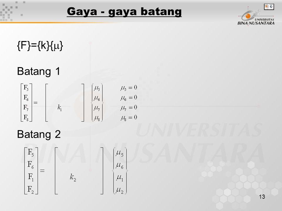 13 Gaya - gaya batang {F}={k}{  } Batang 1 Batang 2