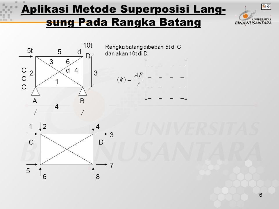 6 Aplikasi Metode Superposisi Lang- sung Pada Rangka Batang d5 36d6d 4 1 2 CCC CCC 5t 10t D 3 BA 4 Rangka batang dibebani 5t di C dan akan 10t di D CD 124 3 5 68 7