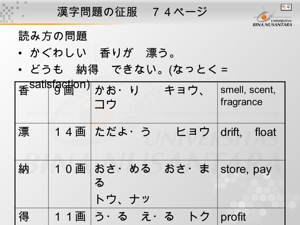 漢字問題の征服 74ページ 読み方の問題 かぐわしい 香りが 漂う。 どうも 納得 できない。 ( なっとく= satisfaction) 香9画かお・り キョウ、 コウ smell, scent, fragrance 漂14画ただよ・う ヒョウ drift, float 納10画おさ・める おさ・ま る トウ、ナッ store, pay 得11画う・る え・る トク profit