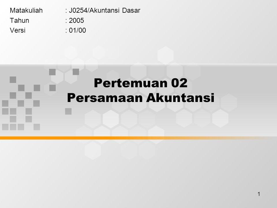 1 Pertemuan 02 Persamaan Akuntansi Matakuliah: J0254/Akuntansi Dasar Tahun: 2005 Versi: 01/00