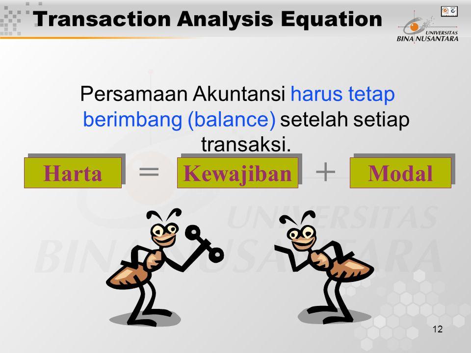 12 Persamaan Akuntansi harus tetap berimbang (balance) setelah setiap transaksi. Kewajiban Modal Harta =+ Transaction Analysis Equation