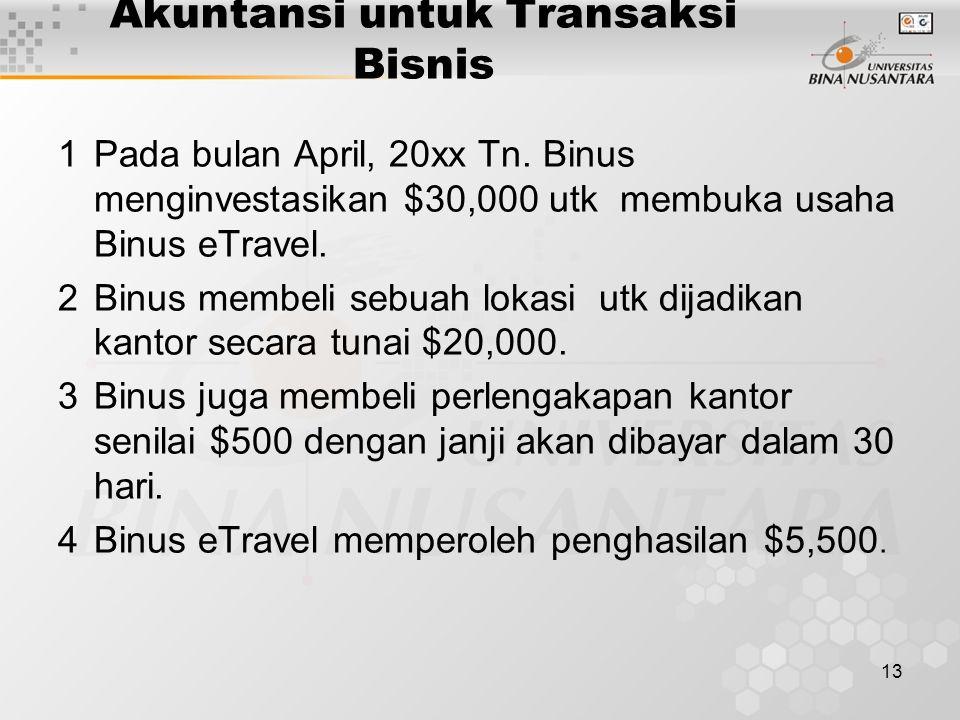 13 Akuntansi untuk Transaksi Bisnis 1Pada bulan April, 20xx Tn. Binus menginvestasikan $30,000 utk membuka usaha Binus eTravel. 2Binus membeli sebuah