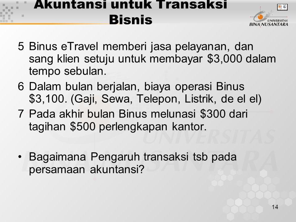14 Akuntansi untuk Transaksi Bisnis 5Binus eTravel memberi jasa pelayanan, dan sang klien setuju untuk membayar $3,000 dalam tempo sebulan. 6Dalam bul
