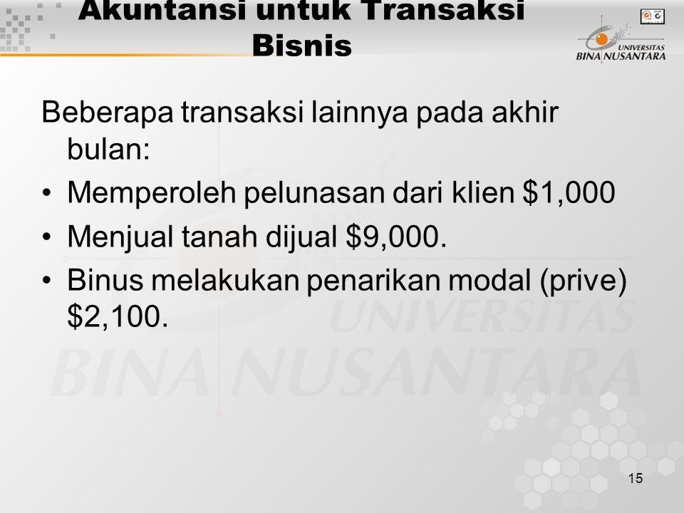 15 Akuntansi untuk Transaksi Bisnis Beberapa transaksi lainnya pada akhir bulan: Memperoleh pelunasan dari klien $1,000 Menjual tanah dijual $9,000. B