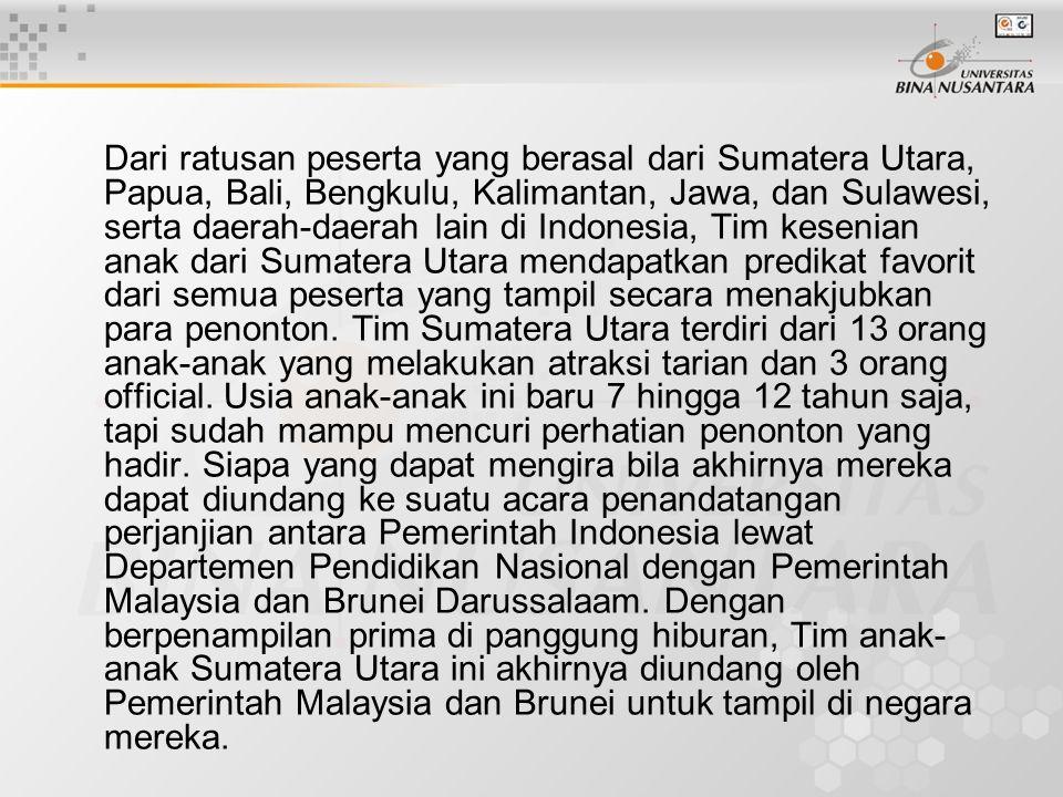 Dari ratusan peserta yang berasal dari Sumatera Utara, Papua, Bali, Bengkulu, Kalimantan, Jawa, dan Sulawesi, serta daerah-daerah lain di Indonesia, T