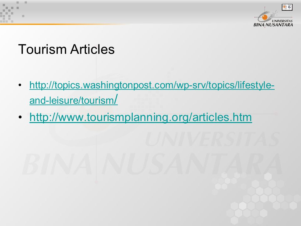 Tourism Articles http://topics.washingtonpost.com/wp-srv/topics/lifestyle- and-leisure/tourism /http://topics.washingtonpost.com/wp-srv/topics/lifesty