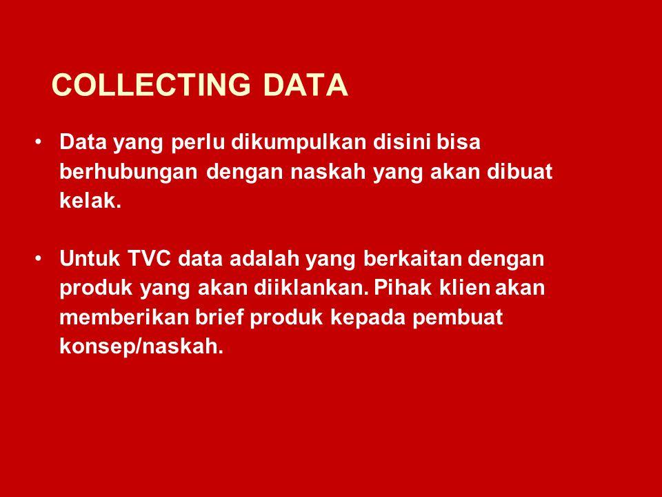 COLLECTING DATA Data yang perlu dikumpulkan disini bisa berhubungan dengan naskah yang akan dibuat kelak.