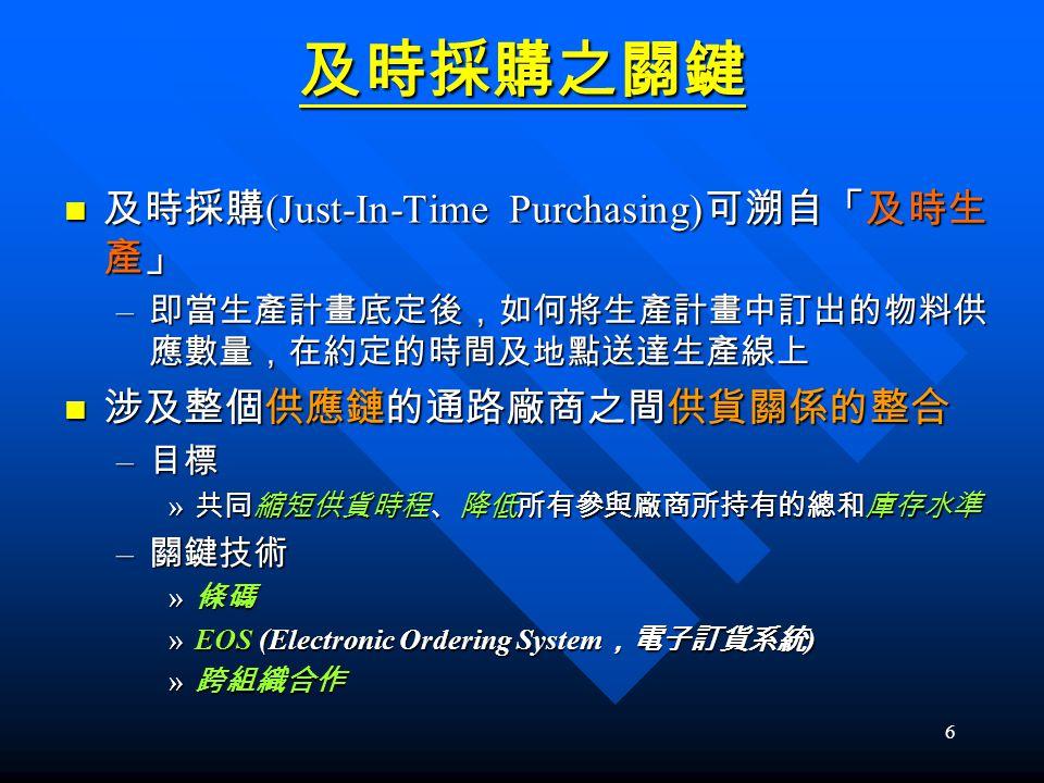 6 及時採購之關鍵 及時採購 (Just-In-Time Purchasing) 可溯自「及時生 產」 及時採購 (Just-In-Time Purchasing) 可溯自「及時生 產」 – 即當生產計畫底定後,如何將生產計畫中訂出的物料供 應數量,在約定的時間及地點送達生產線上 涉及整個供應鏈的通