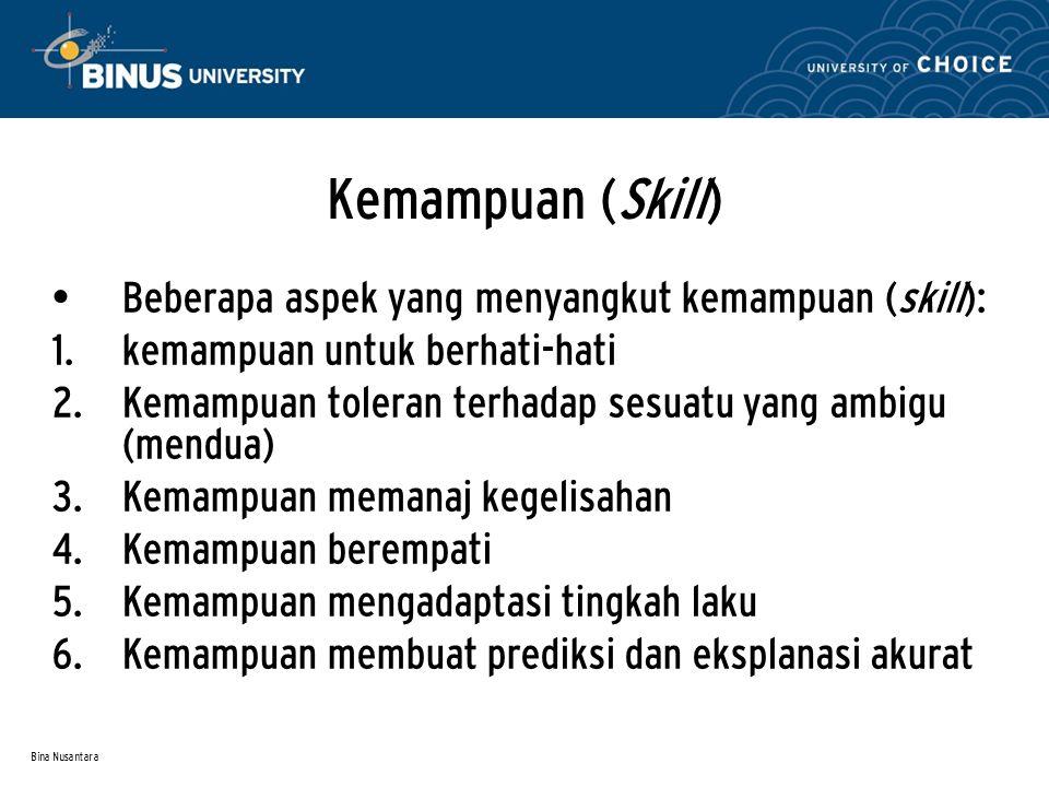 Bina Nusantara Kemampuan (Skill) Beberapa aspek yang menyangkut kemampuan (skill):  kemampuan untuk berhati-hati  Kemampuan toleran terhadap sesua