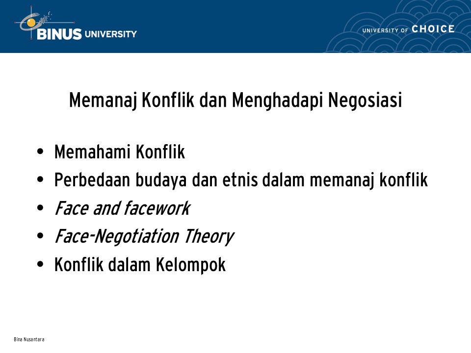 Bina Nusantara Memanaj Konflik dan Menghadapi Negosiasi Memahami Konflik Perbedaan budaya dan etnis dalam memanaj konflik Face and facework Face-Negot