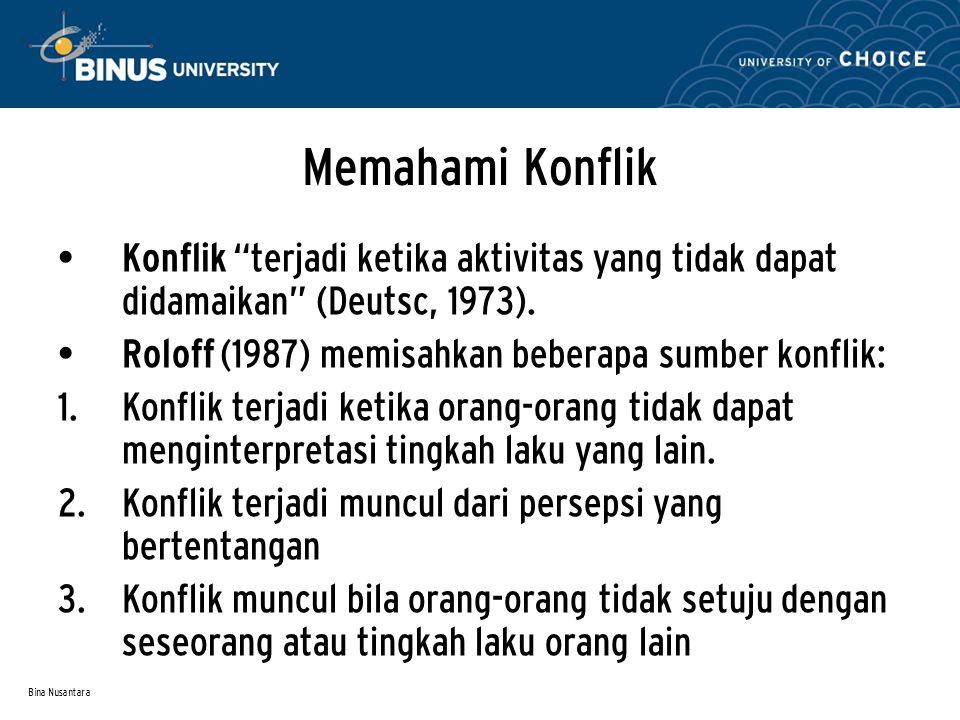 """Bina Nusantara Memahami Konflik Konflik """"terjadi ketika aktivitas yang tidak dapat didamaikan"""" (Deutsc, 1973). Roloff (1987) memisahkan beberapa sumbe"""
