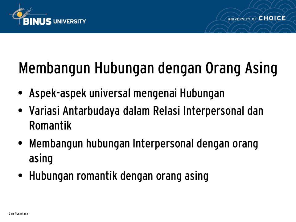 Bina Nusantara Membangun Hubungan dengan Orang Asing Aspek-aspek universal mengenai Hubungan Variasi Antarbudaya dalam Relasi Interpersonal dan Romant