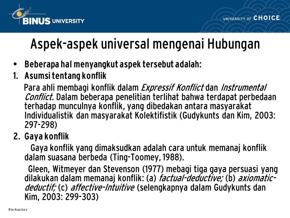 Bina Nusantara Aspek-aspek universal mengenai Hubungan Beberapa hal menyangkut aspek tersebut adalah:  Asumsi tentang konflik Para ahli membagi konf