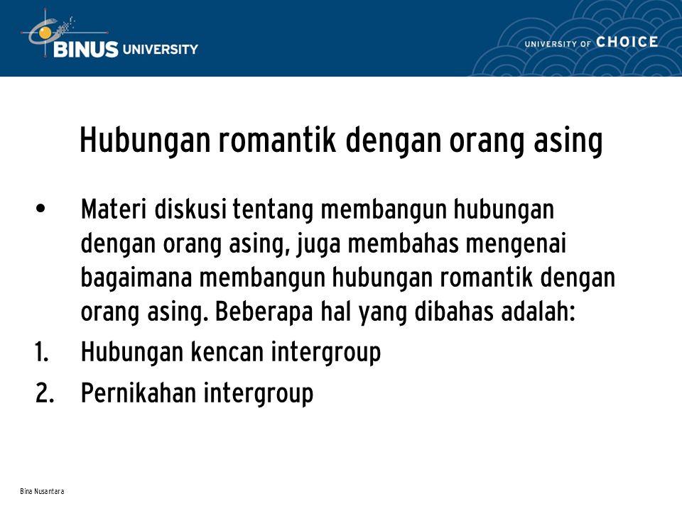 Bina Nusantara Hubungan romantik dengan orang asing Materi diskusi tentang membangun hubungan dengan orang asing, juga membahas mengenai bagaimana mem