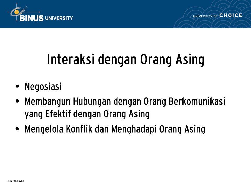 Bina Nusantara Aspek-aspek universal mengenai Hubungan Beberapa hal menyangkut aspek tersebut adalah:  Asumsi tentang konflik Para ahli membagi konflik dalam Expressif Konflict dan Instrumental Conflict.